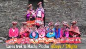 Lares trek to Machu Picchu 4 Days 3 Nights